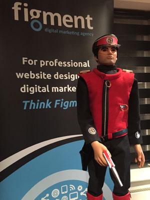 The indestructible Captain Scarlet on security duty for Figment Agency.