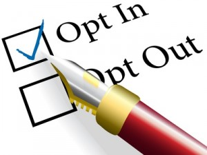 Red fountain pen checks the Opt In choice to check mark the option