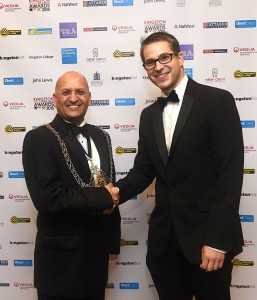 The Mayor of Kingston Upon Thames (2015-2016) Councillor Roy Arora (left) presenting me (right) with the award for Best Creative and Media Sector business 2015.