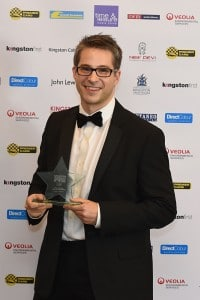 Me proudly sporting the award after the glittering ceremony.