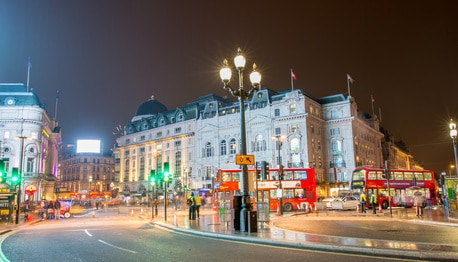London at night time scene